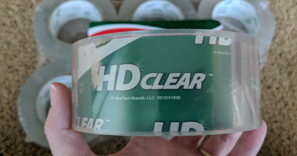 close up of HD clear duck packaging tape roll