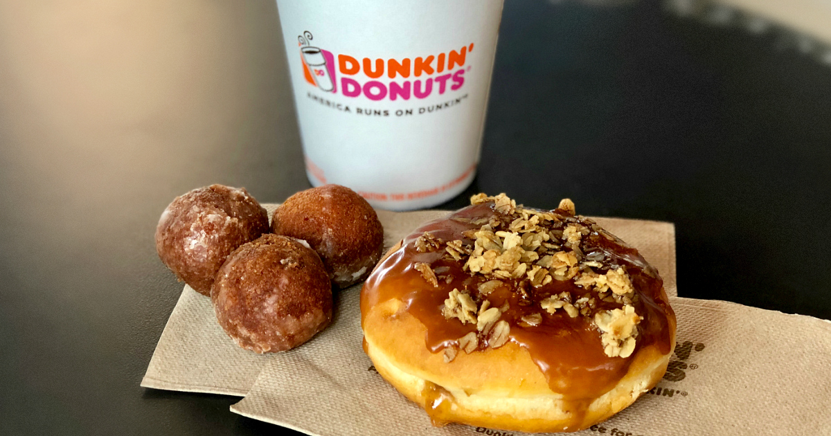 pumpkin maple coffees are on perk for fall at dunkin donuts, along with delicious new treats like these donut holes