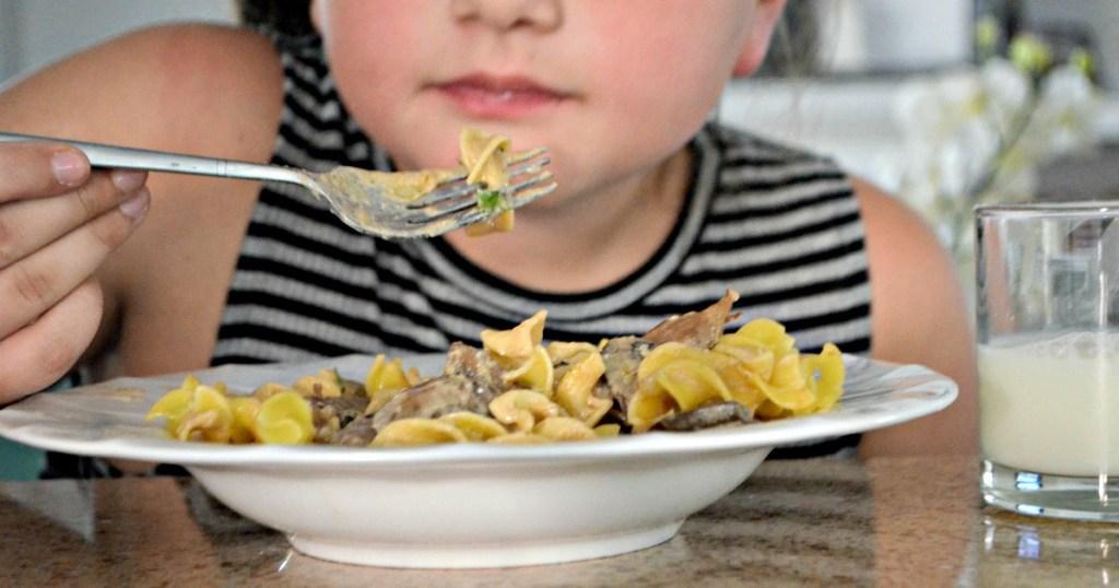 child eating easy beef stroganoff
