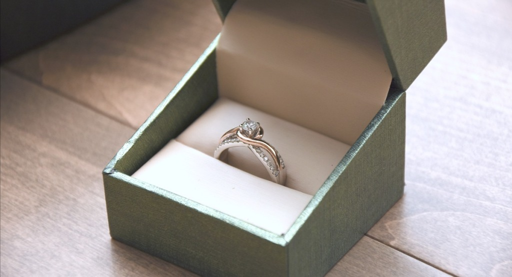 engagement ring in open box