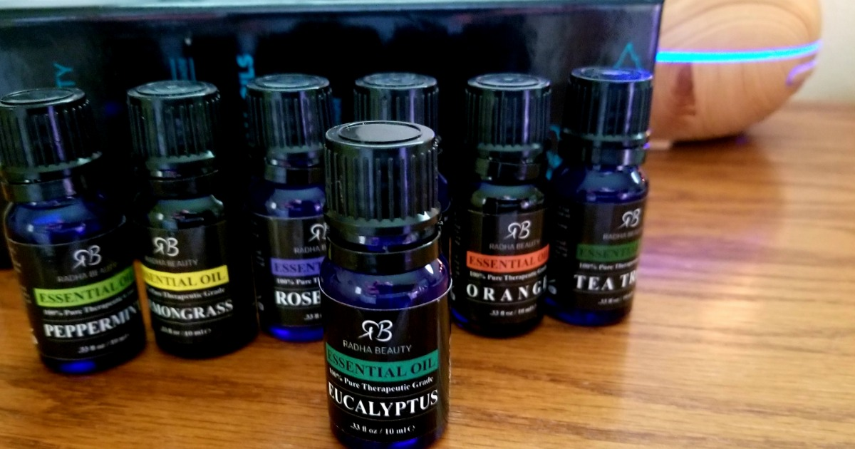 radha beauty essential oils - closeup of the bottles