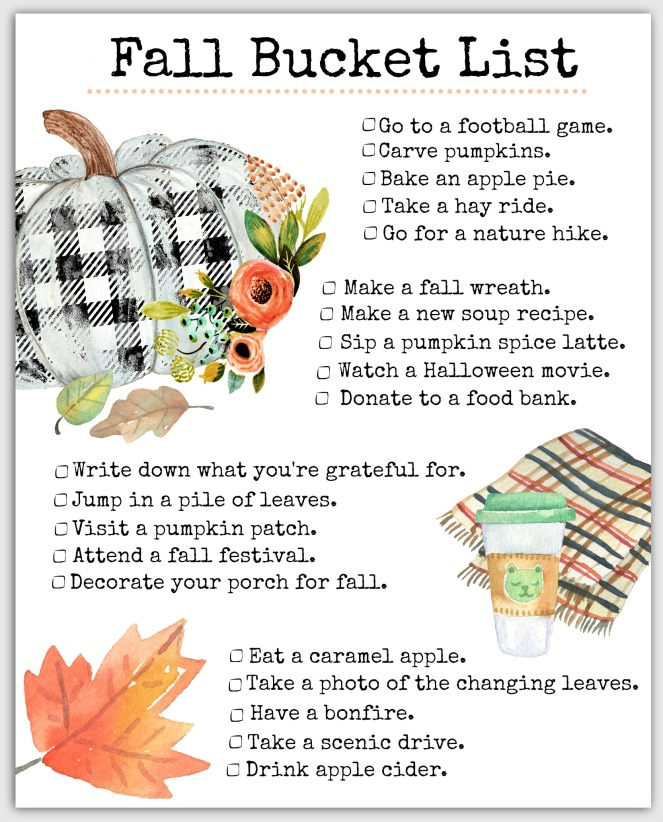 What our Free Printable Fall Bucket List looks like