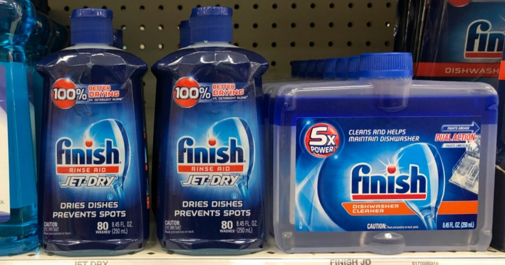 Finish Jet Dry products on a shelf