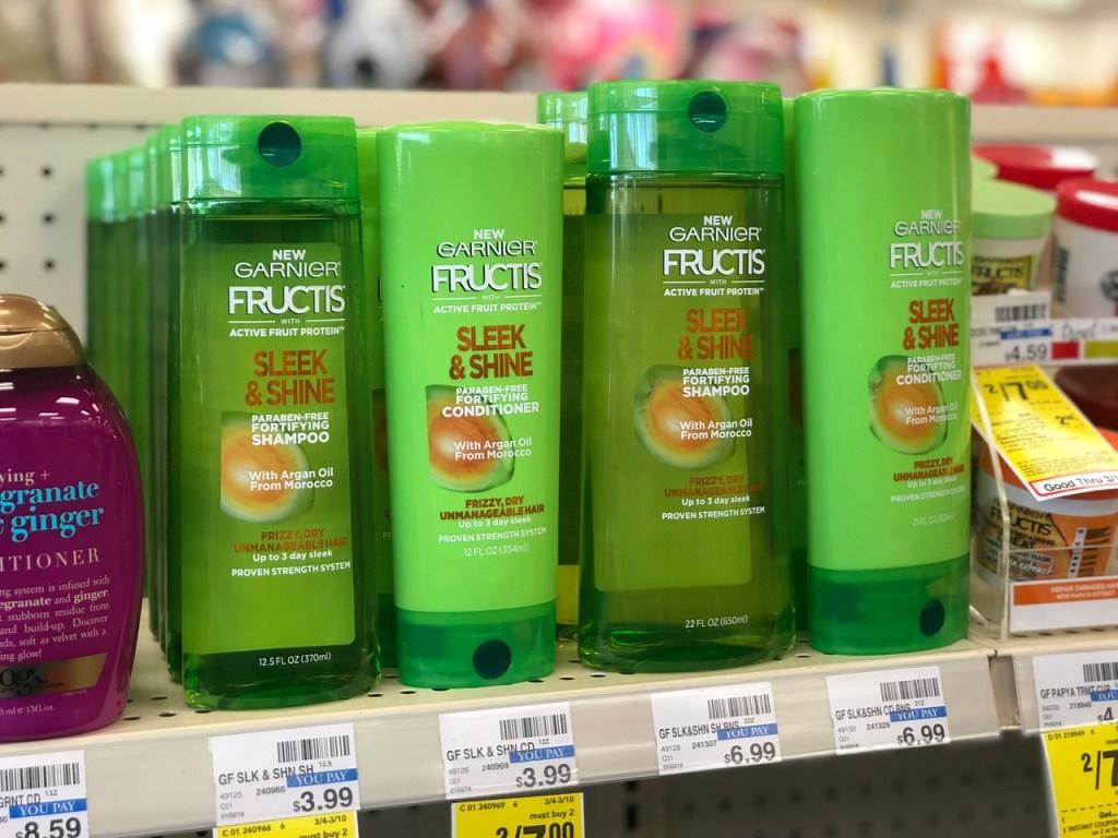 garnier shampoo on shelf