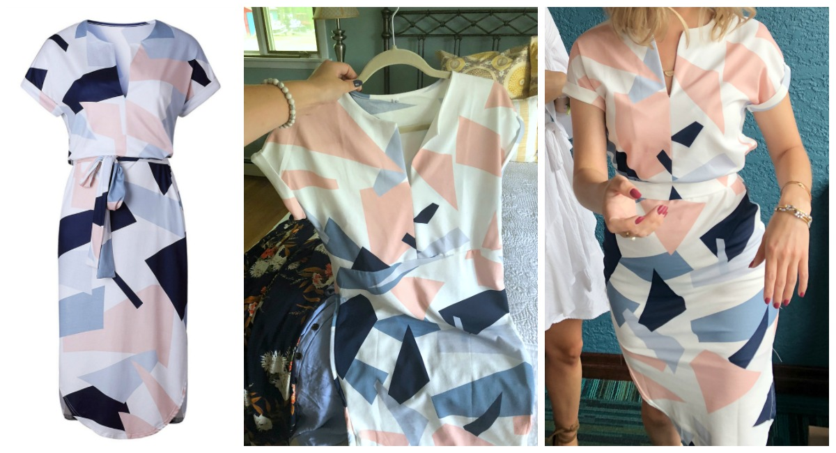 Shopping for clothing? Check out this amazon hack – comparison of amazon listing image to real life image of a geometric dress from amazon