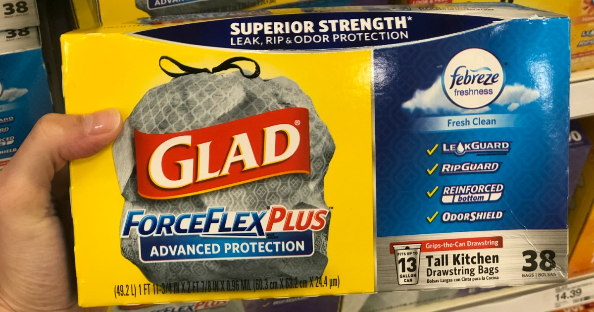 photograph relating to Glad Trash Bag Printable Coupons known as More than 40% Off Content ForceFlex As well as Trash Baggage at Concentration - Hip2Help save