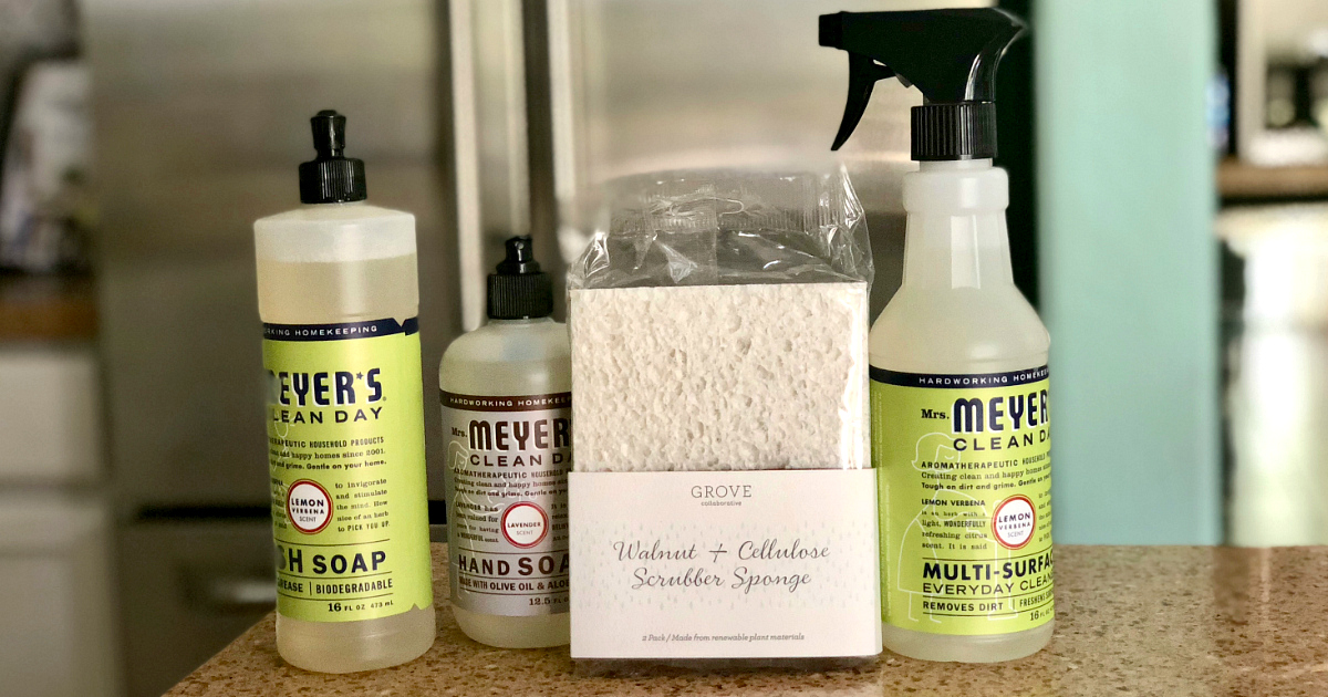 Get a free mrs meyers gift set from Grove Collaborative – cleaning supplies on a counter