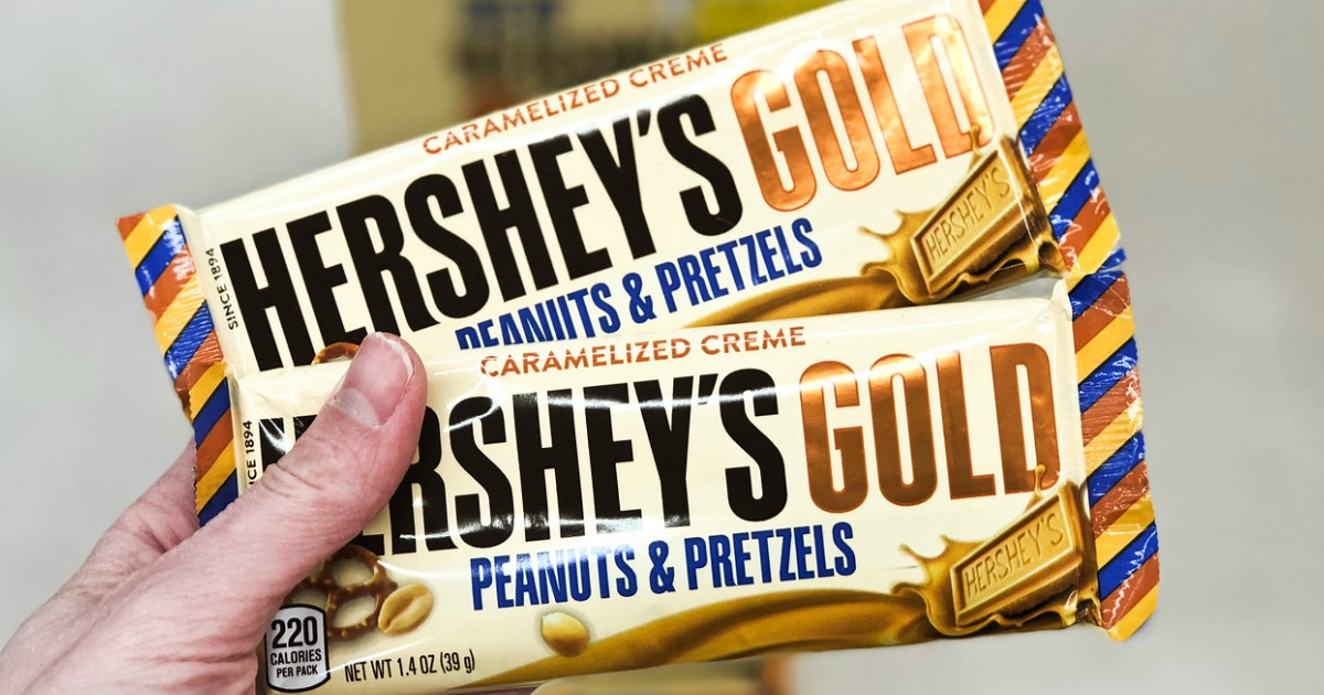 graphic about Printable Candy Coupons titled 2 Hersheys Gold Printable Discount coupons \u003d Sweet Bars Merely 25