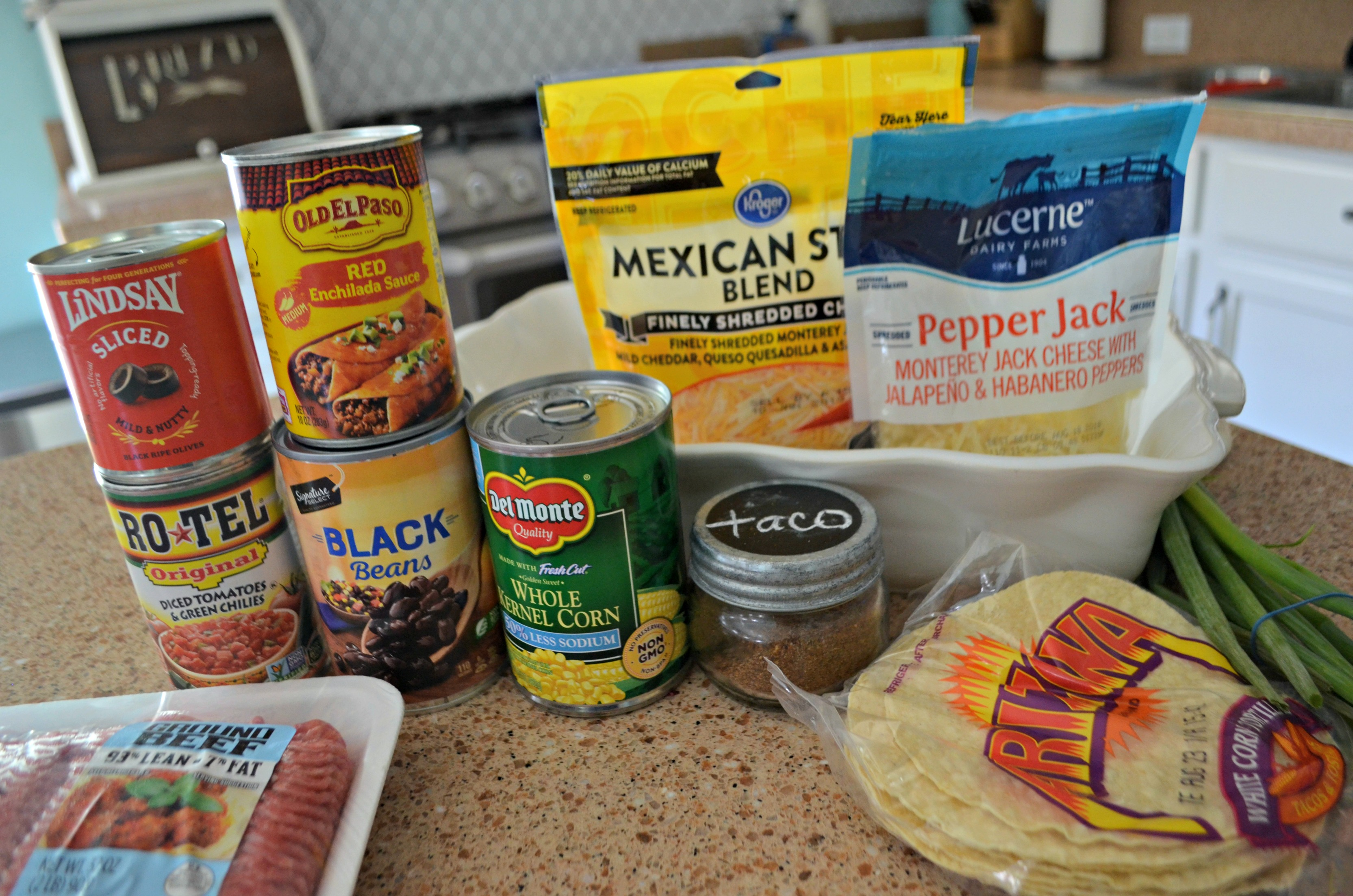 Easy Mexican Lasagna - the ingredients on the counter