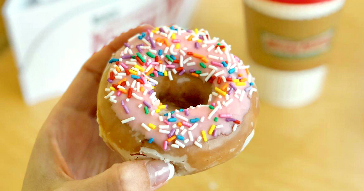 On your birthday get a free doughnut and coffee at krispy kreme – doughnut and coffee closeup