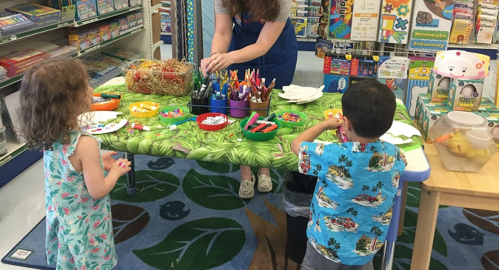 free fall activities — kids at lakeshore learning crafts table