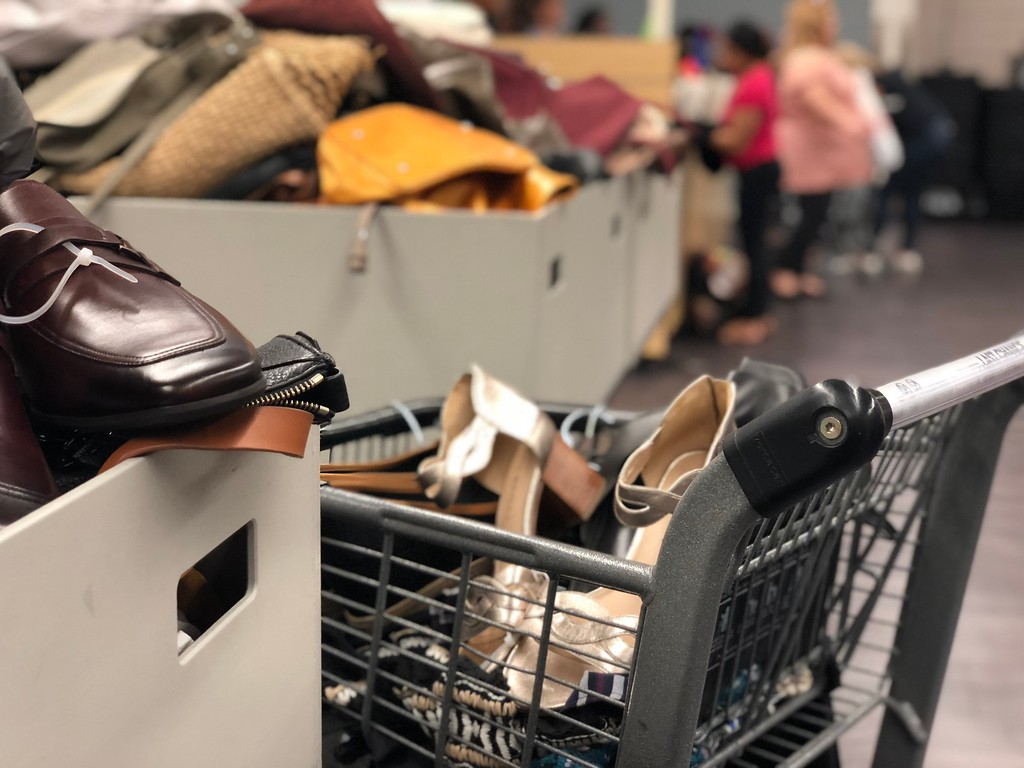 nordstroms last-chance store deals, tips, and tricks – bins and a shopping cart
