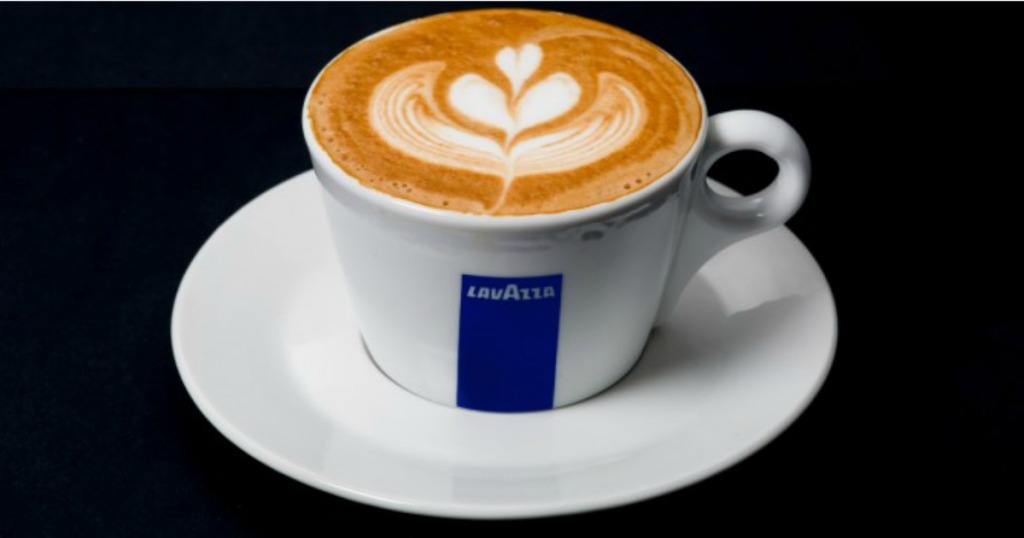Cup of Lavazza coffee on a table