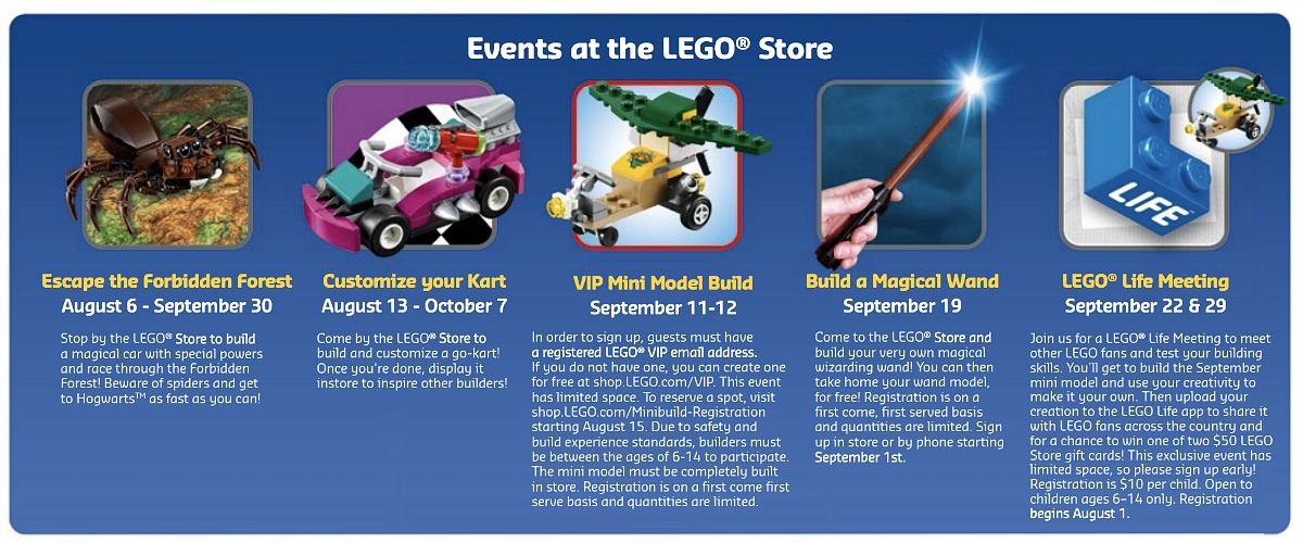 places for free fun fall activities — fall lego store events from calendar