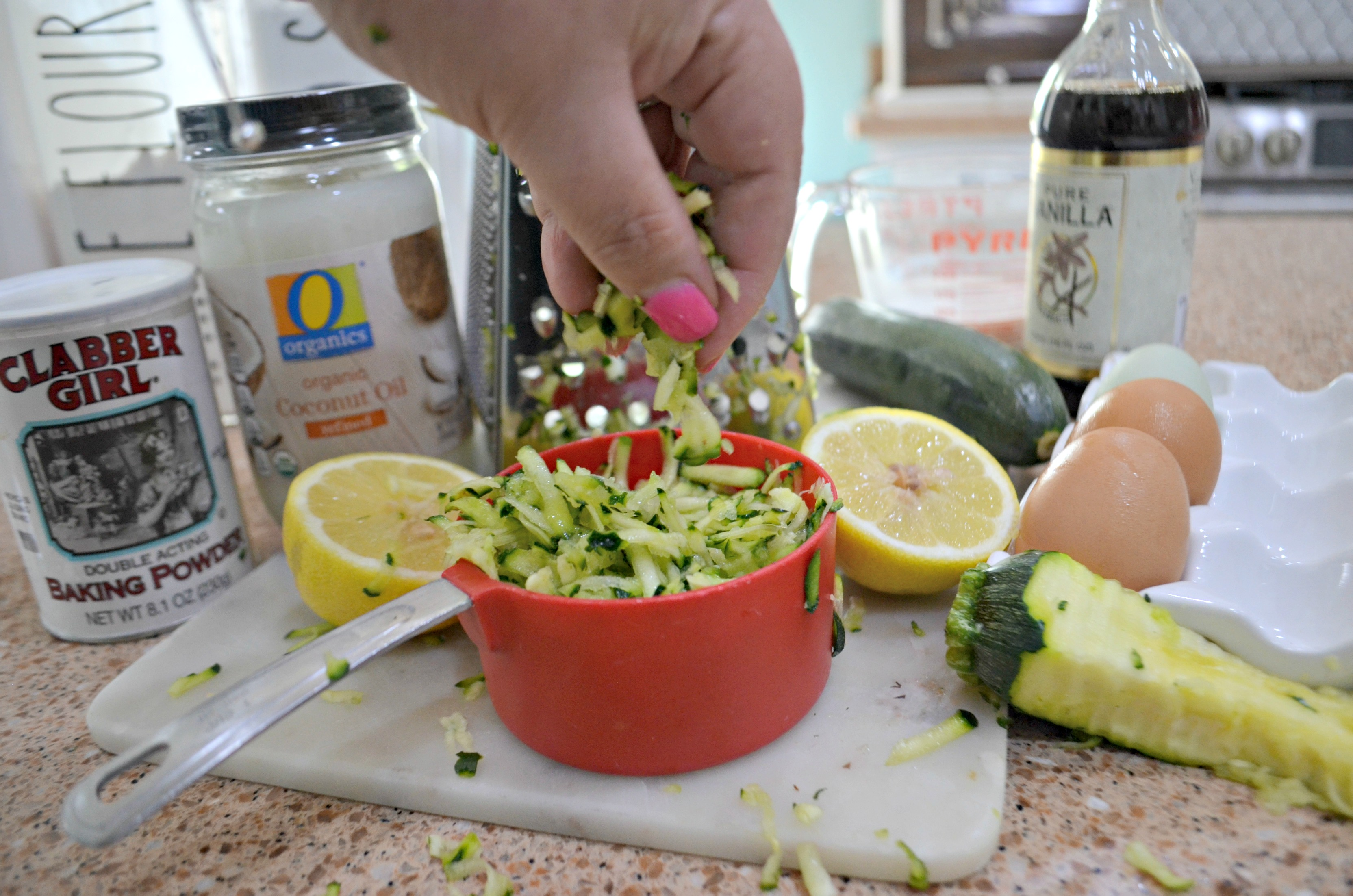 Ingredients for the baked lemon zucchini loaf
