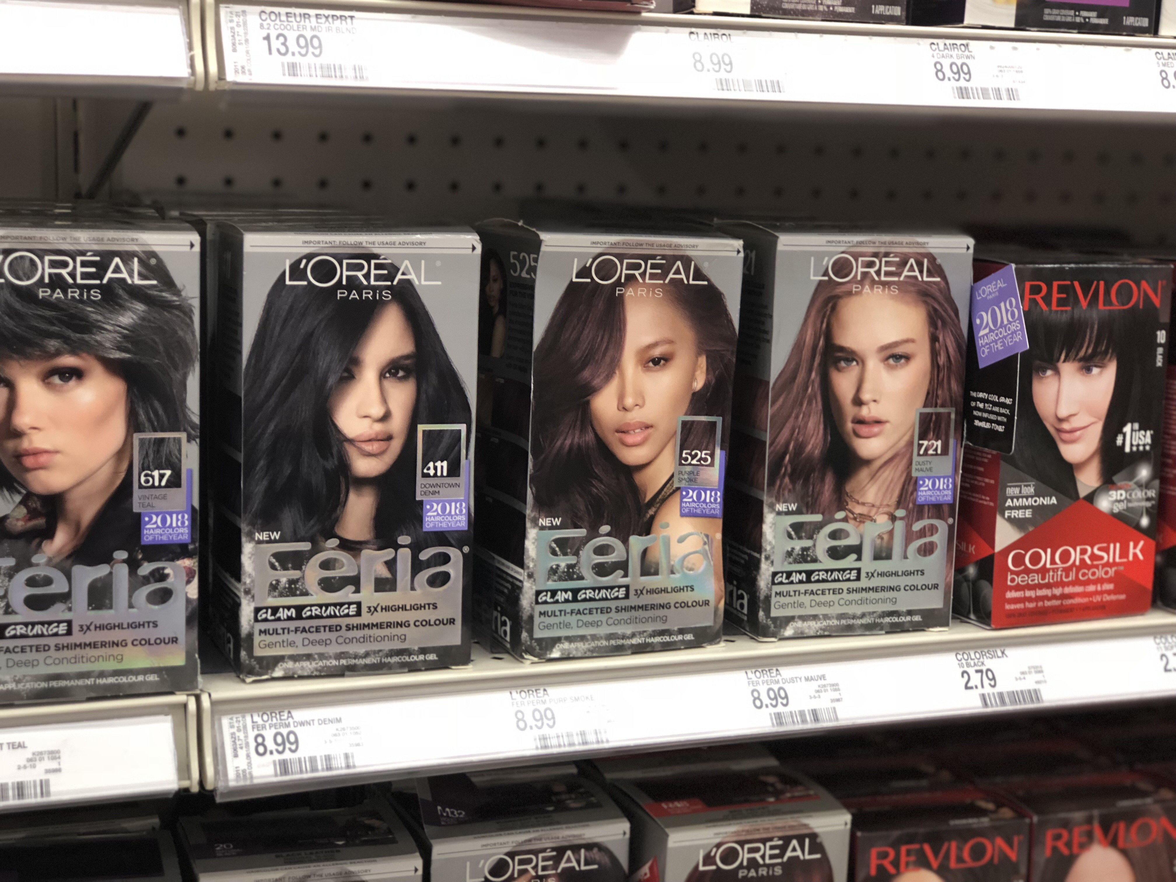 boxes of loreal hair color on a target store shelf