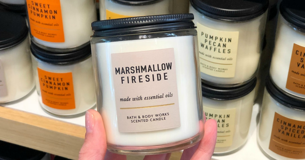 Bath & Body Works Single Wick Candles with Marshmallow Fireside shown in front