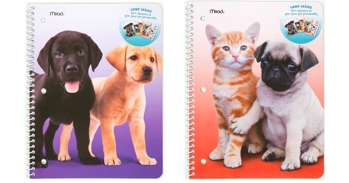 back-to-school deals at office depot, walgreens, walmart, and more – Mead Purrs & Grrrs 1-Subject Wide Ruled Notebook