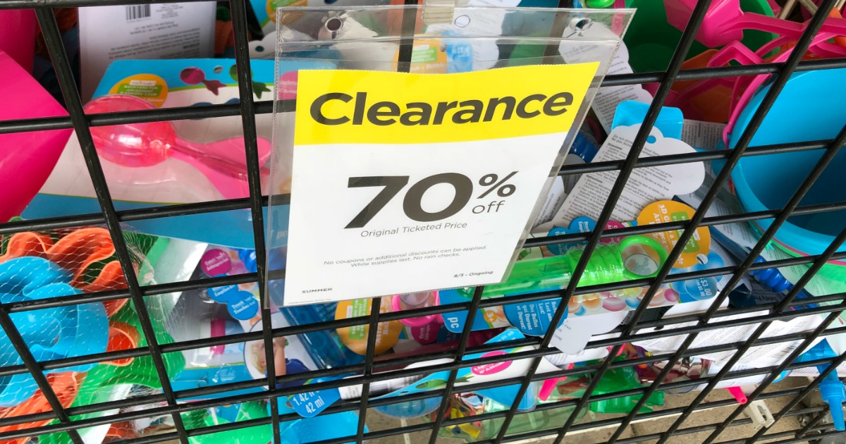 clearance tag on bin of toys
