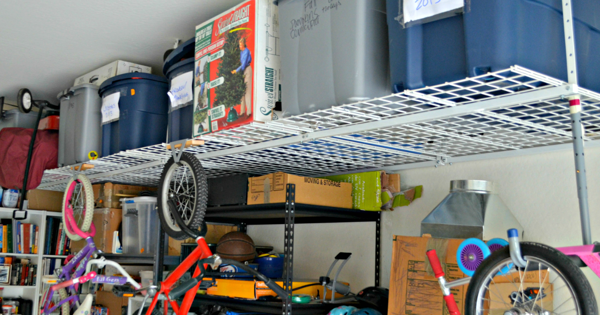 National Garage Sale Day - Garage with shelving for storage