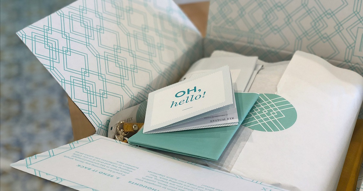 stitch fix box opened with welcome information packet - wardrobe review