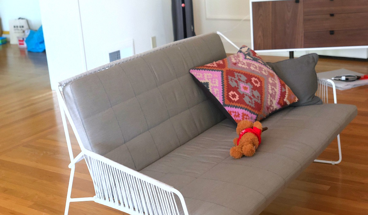 How moving made us feel grateful while having less – patio furniture in the living room at collin's house