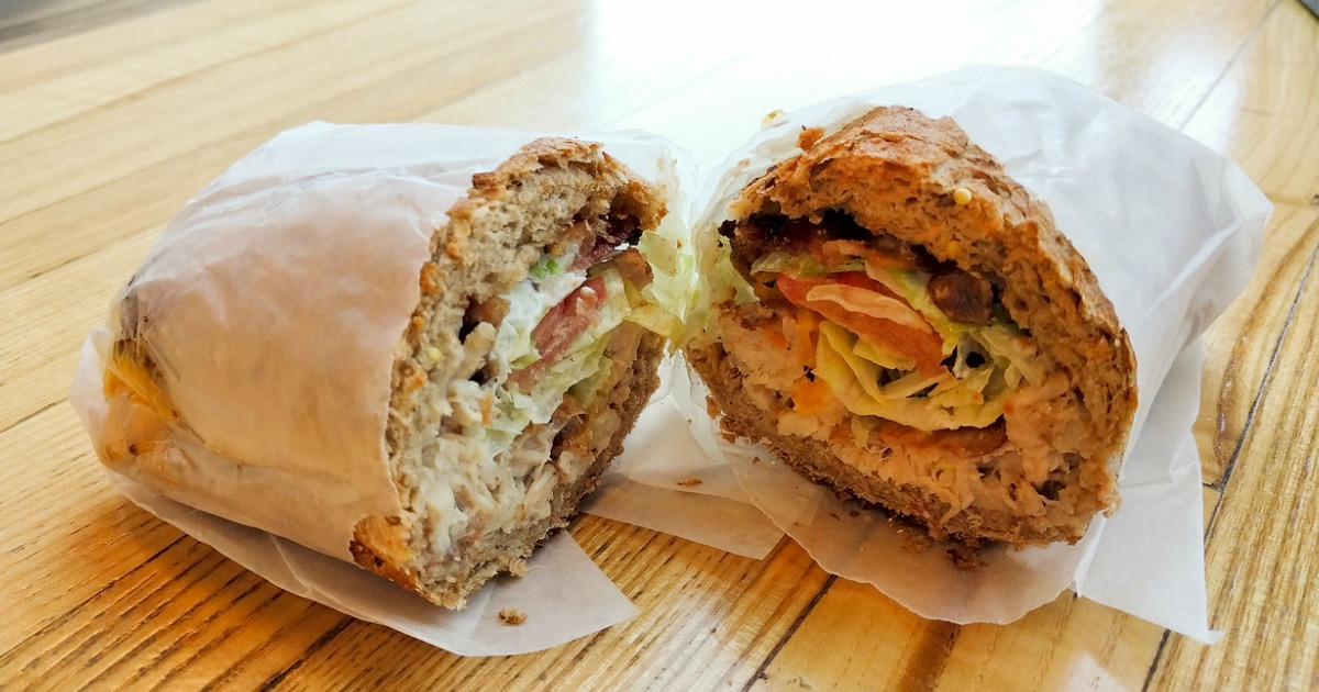 Potbelly sandwich shop sandwich cut in half