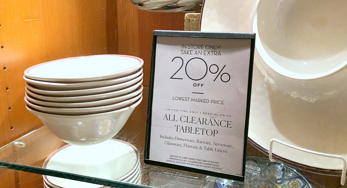 shop pottery barn with these money-saving tips – clearance signage in store