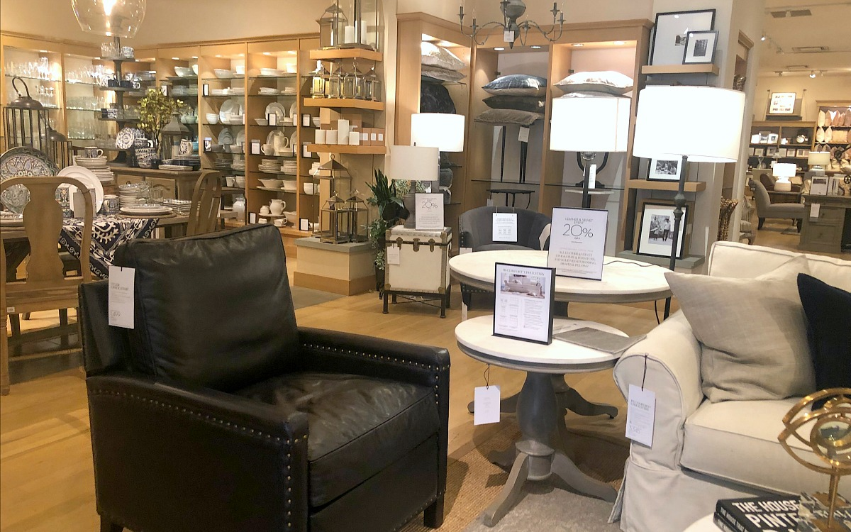 shop pottery barn with these money-saving tips – store entrance with full priced furniture and decor