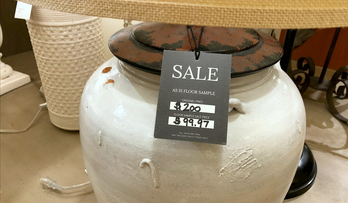 shop pottery barn with these money-saving tips – lamp floor sample with 50% off