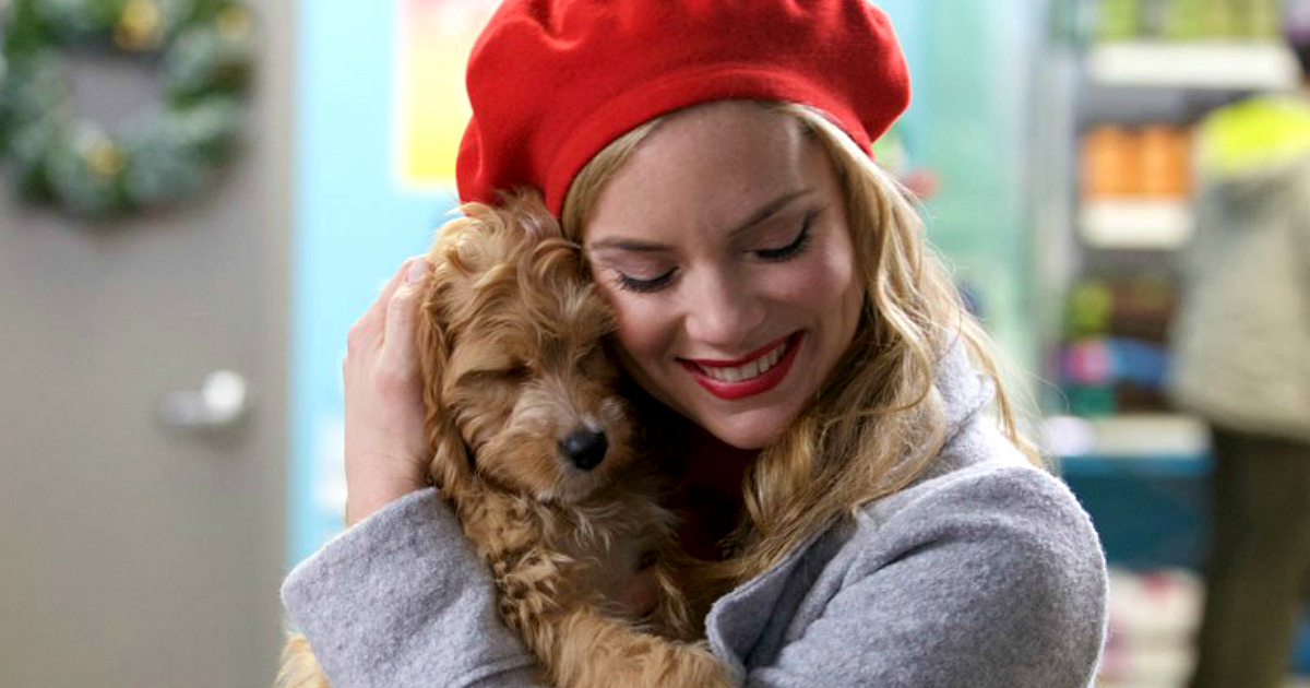 prime video hallmark movies countdown christmas – Puppy for Christmas woman hugging puppy