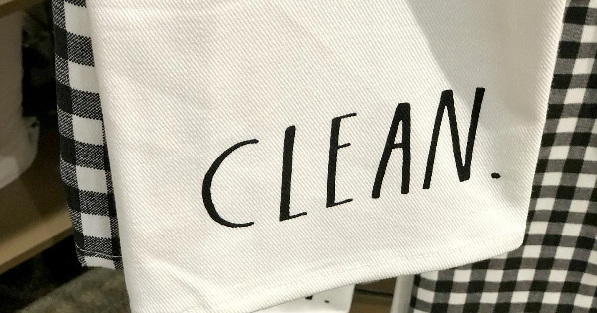 "Rae Dunn collection at Kirklands - linen that reads ""clean"""