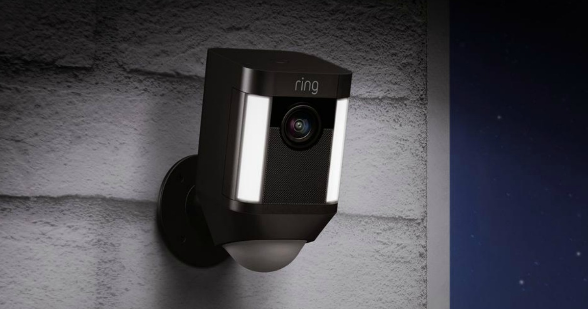 black ring security camera mounted on wall