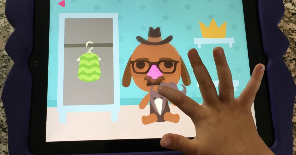 favorite kid-tested parent-approved kids apps – adding a mustache to a dog character in a game