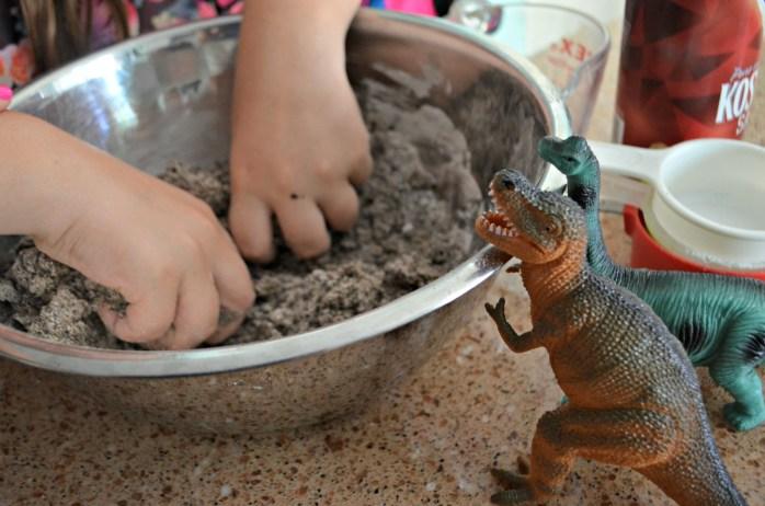 diy dinosaur surprise eggs – kneading the ingredients