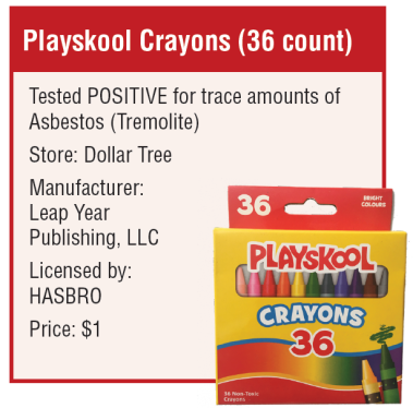 dollar tree playskool crayons may contain asbestos – Information shows the crayon box plus mentions of tremolite