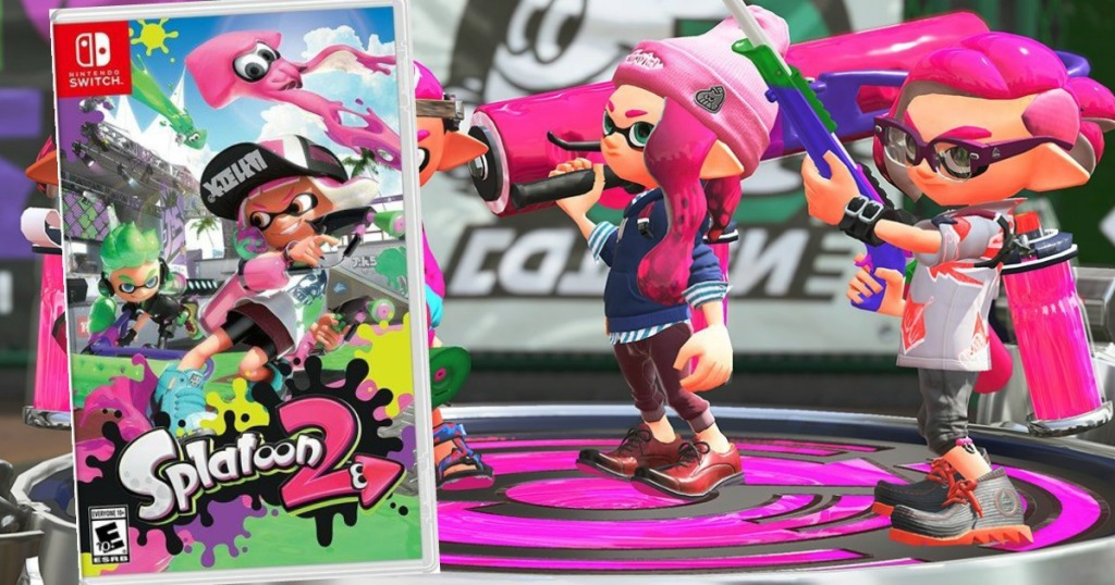 game play of splatoon with game case on top