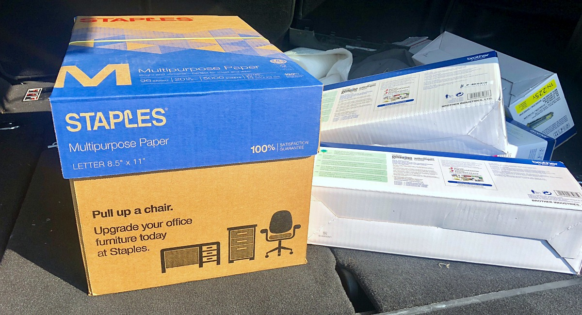 how i saved money at staples - staples printer paper and ink in trunk of car
