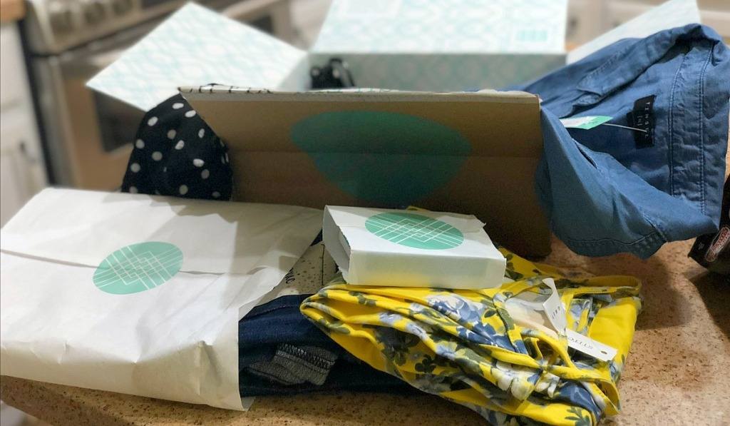 stitch fix box with clothes and accessories