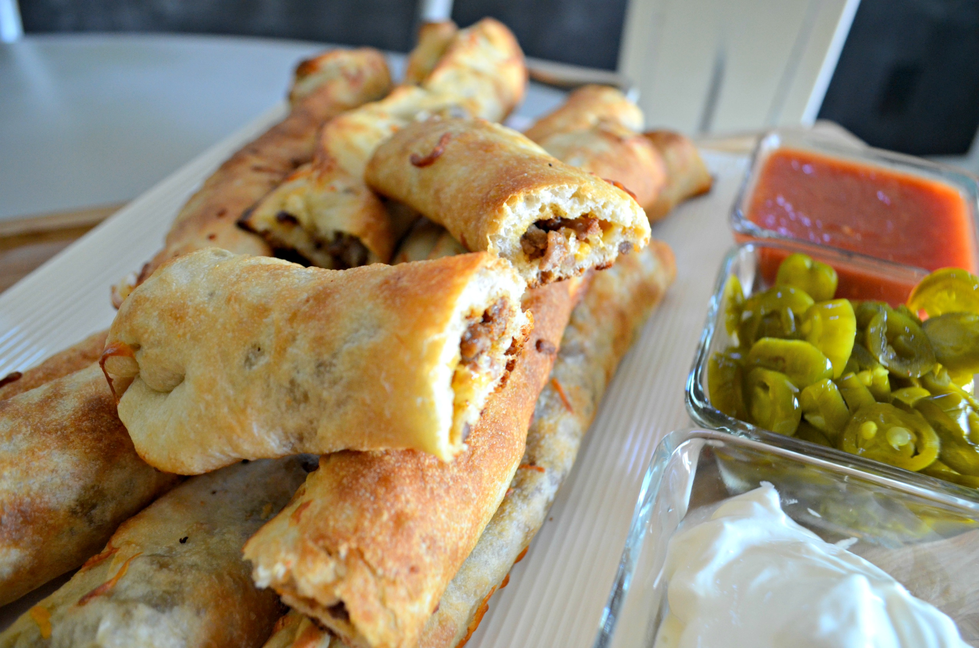 Easy 3 Ingredient Cheesy Taco Stuffed Breadsticks - after baking