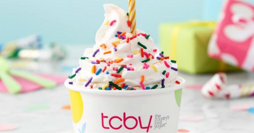 birthday themed ice cream at tcby