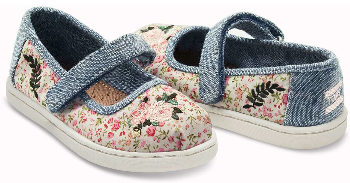 394809e1c2a Tiny TOMS Multi Pink Floral Mary Jane Flats Just  24.99 shipped (regularly   38.95)