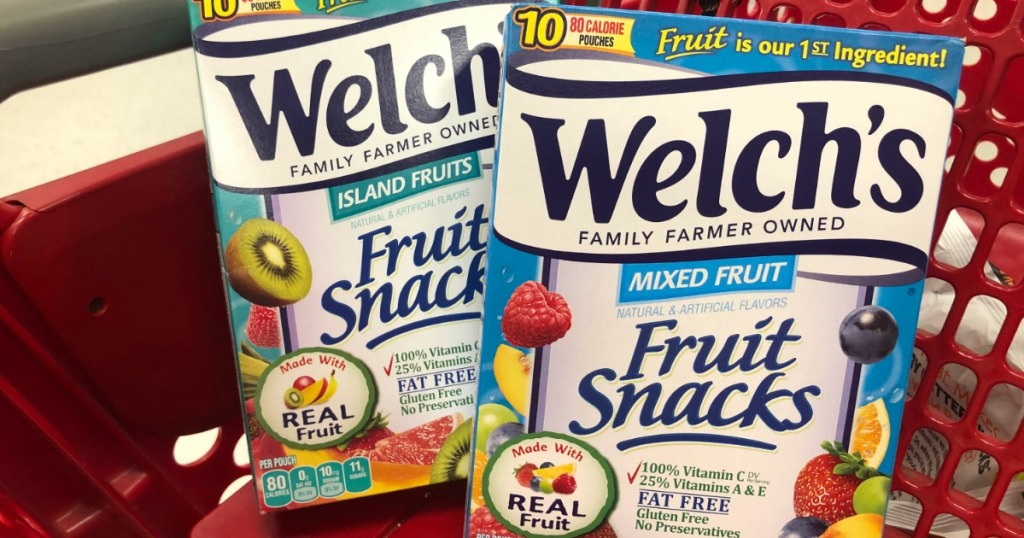 two boxes of fruit snacks in basket