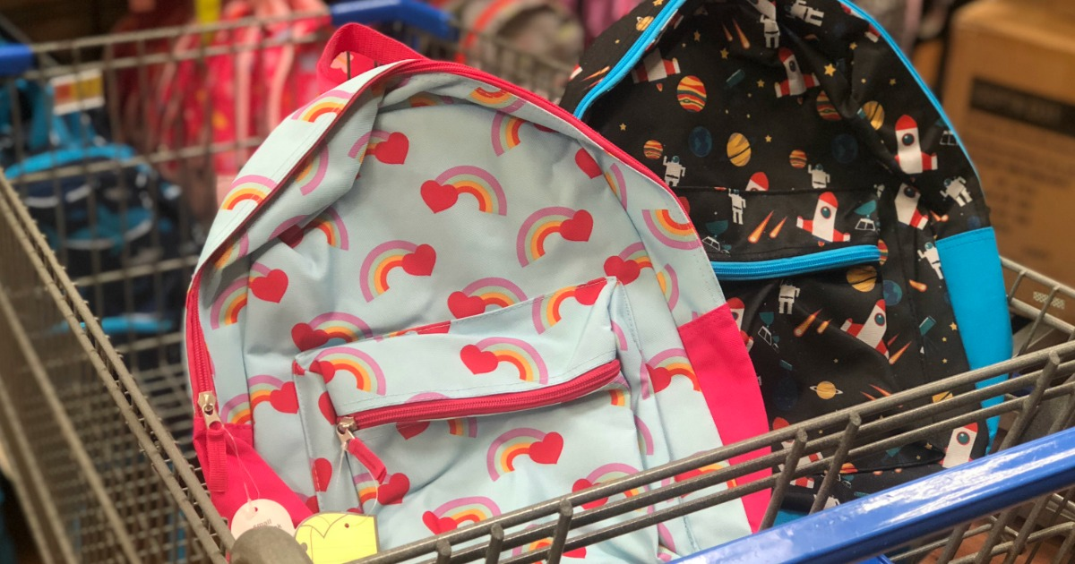 back-to-school deals at office depot, walgreens, walmart, and more – backpacks in a cart