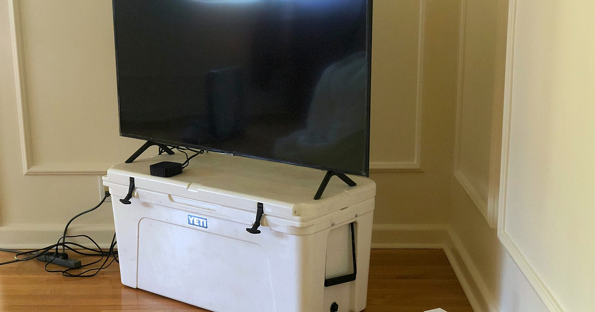 How moving made us feel grateful while having less – tv on top of yeti cooler as a makeshift tv stand