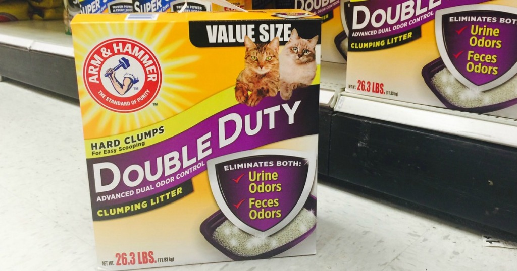 box of cat litter in front of shelf at Target