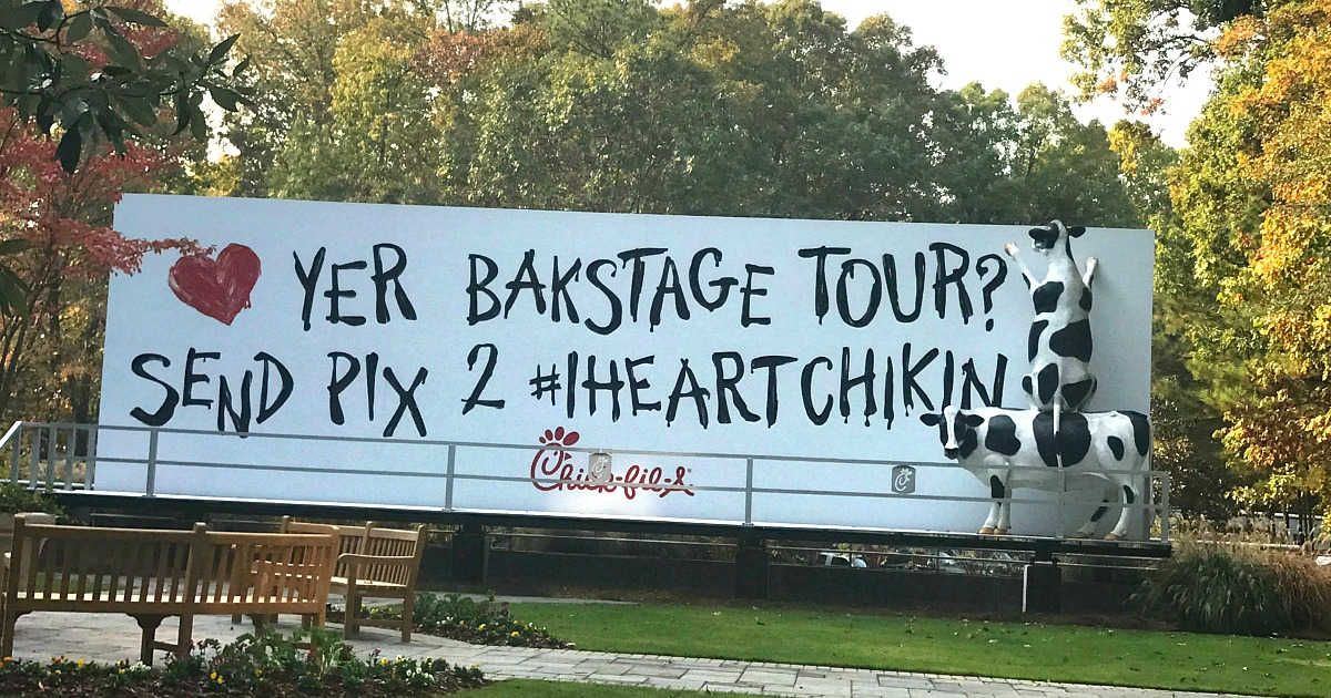 chick-fil-a is one of the best fast food chains out there – billboard with text to send pictures of guest tours