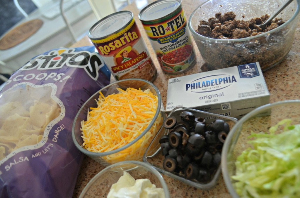 ingredients for baked taco dip on counter