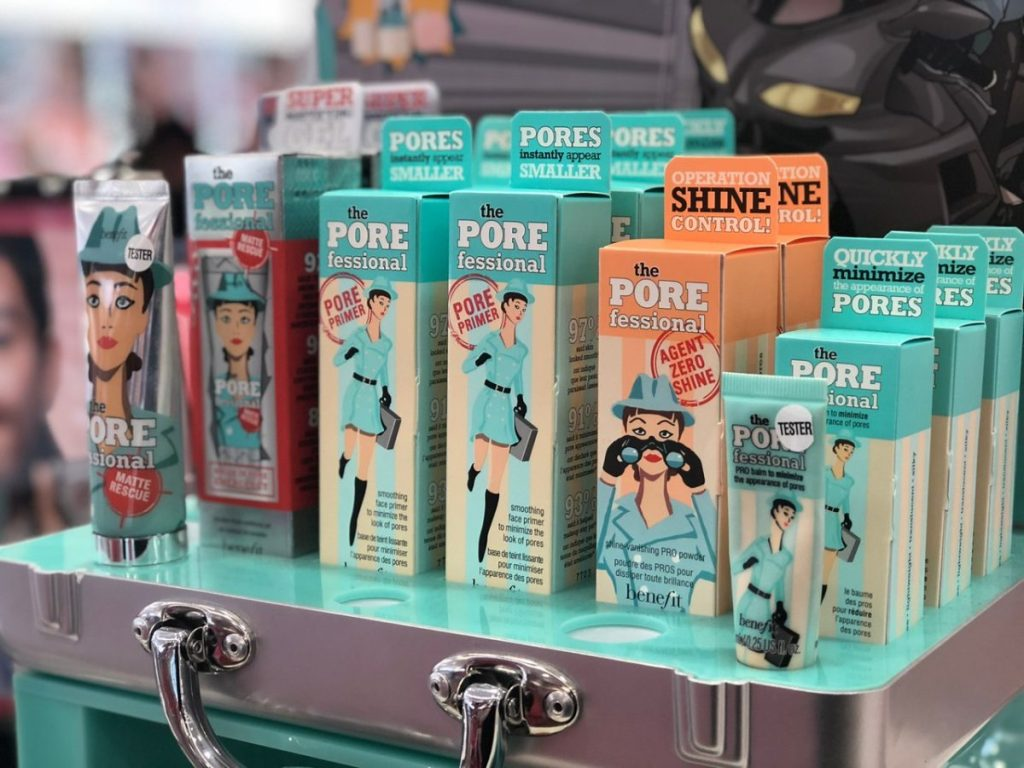line of porefessional makeup products in box at store
