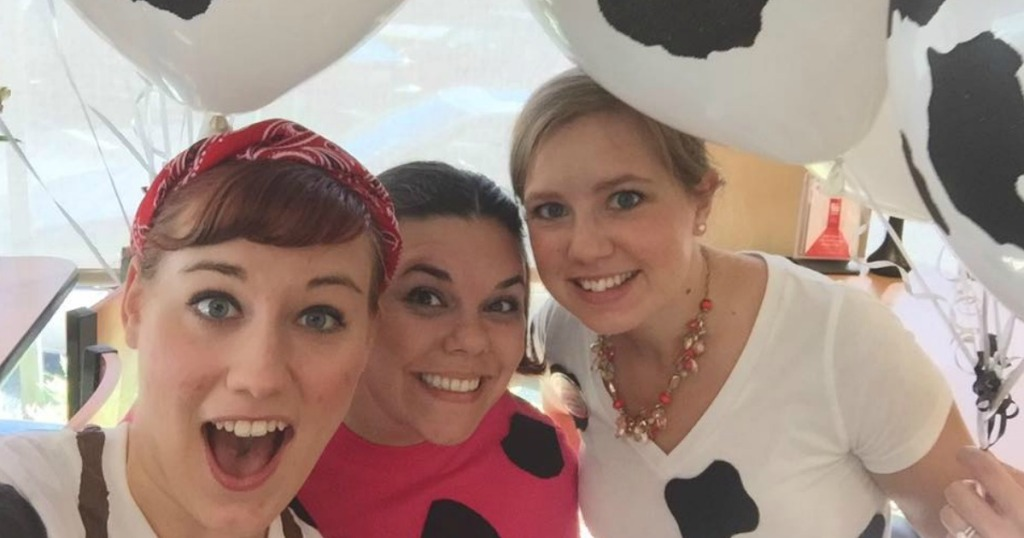 three women for Chick-fil-A Cow Appreciation Day